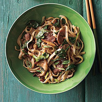 Stir-Fried Rice Noodles with Beef and Spinach    CookingLight.com