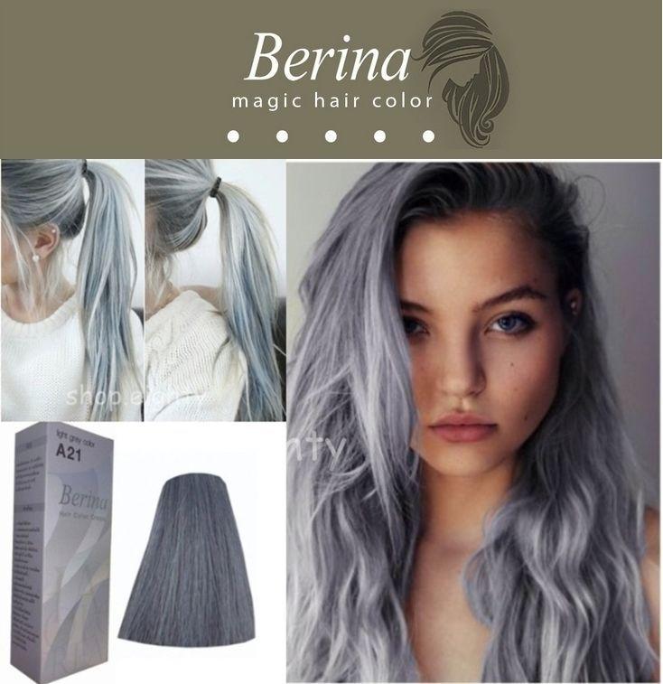 Berina No A21 Permanent Color Hair Dye Cream Unisex Light Grey