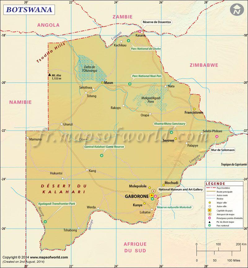 Carte du #Botswana | Carte du Monde | Pinterest | Carte du monde