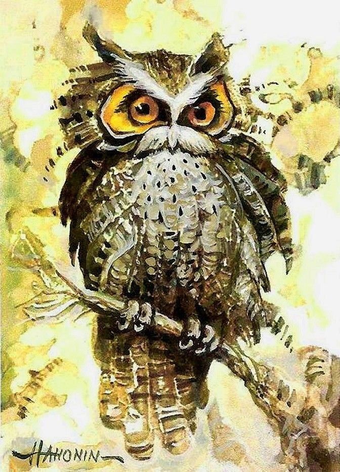 ACEO / OWL / Limited Edition Print from an Original Painting by Sergej Hahonin