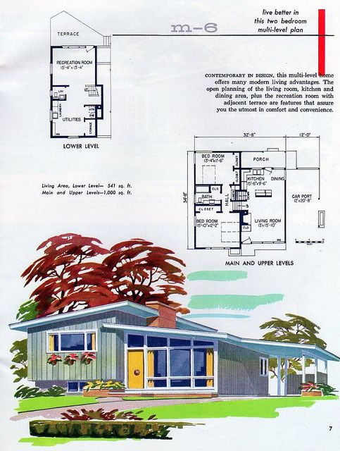 I Just Love Split Levels Vintage House Plans Mid Century Modern House Plans How To Plan
