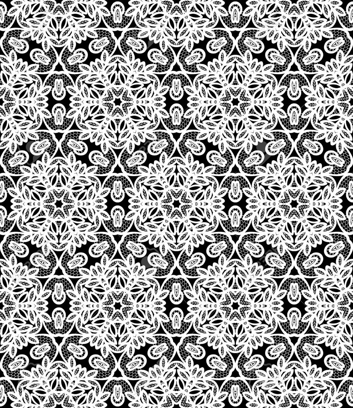 decorative seamless white pattern on a black background