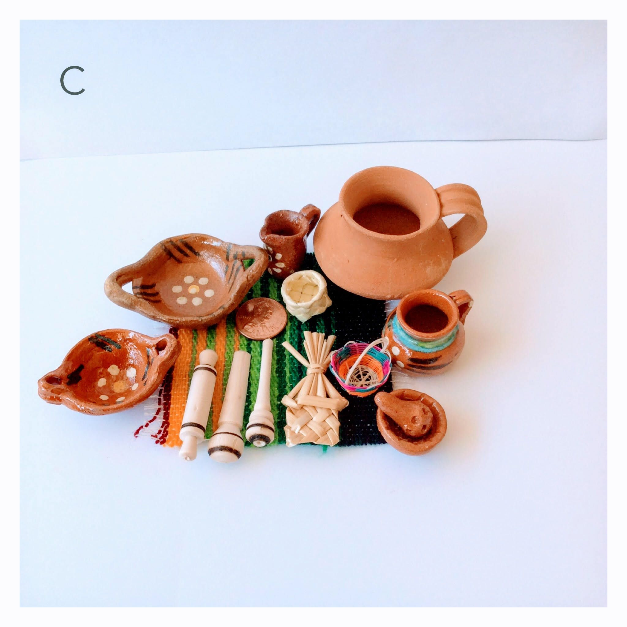 Miniature Clay Dishes Terra Cotta Clay Mexican Miniature Pottery Mug Vintage Miniature Day Of The Dead Frida Kahl Miniature Clay Pots Pottery Mugs Miniatures