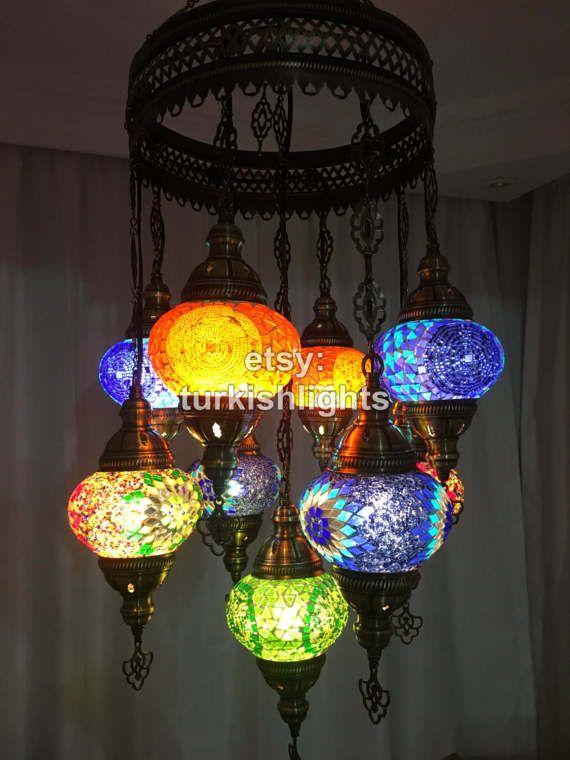 9 Ball Turkish Sultan Mosaic Chandelier Multi Color Turkish