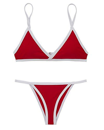 a39e24426f New X-HERR Womens Triangle Top Thong Bikini Bottom Swimsuit Bralette Push  Up Padded Two