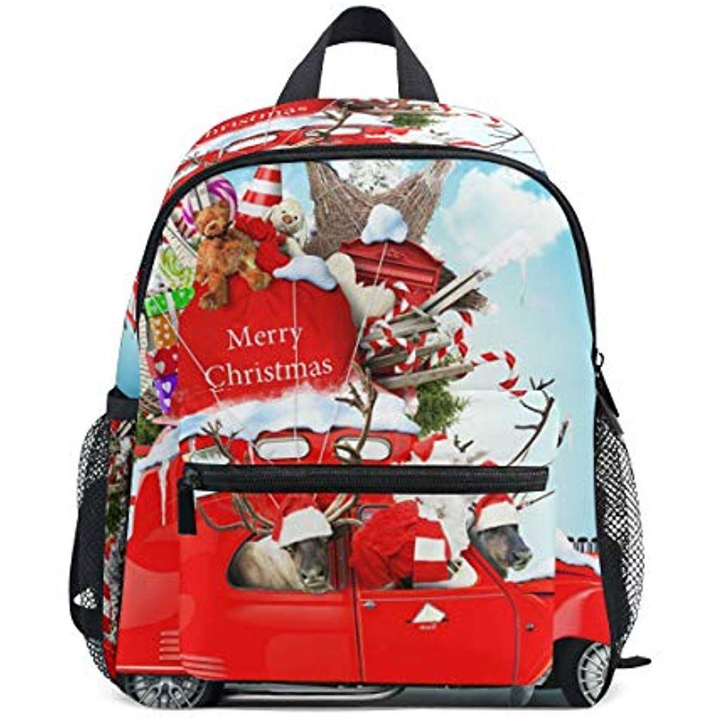 Santa Claus With Reindeer Car Kids Backpack Students Cute