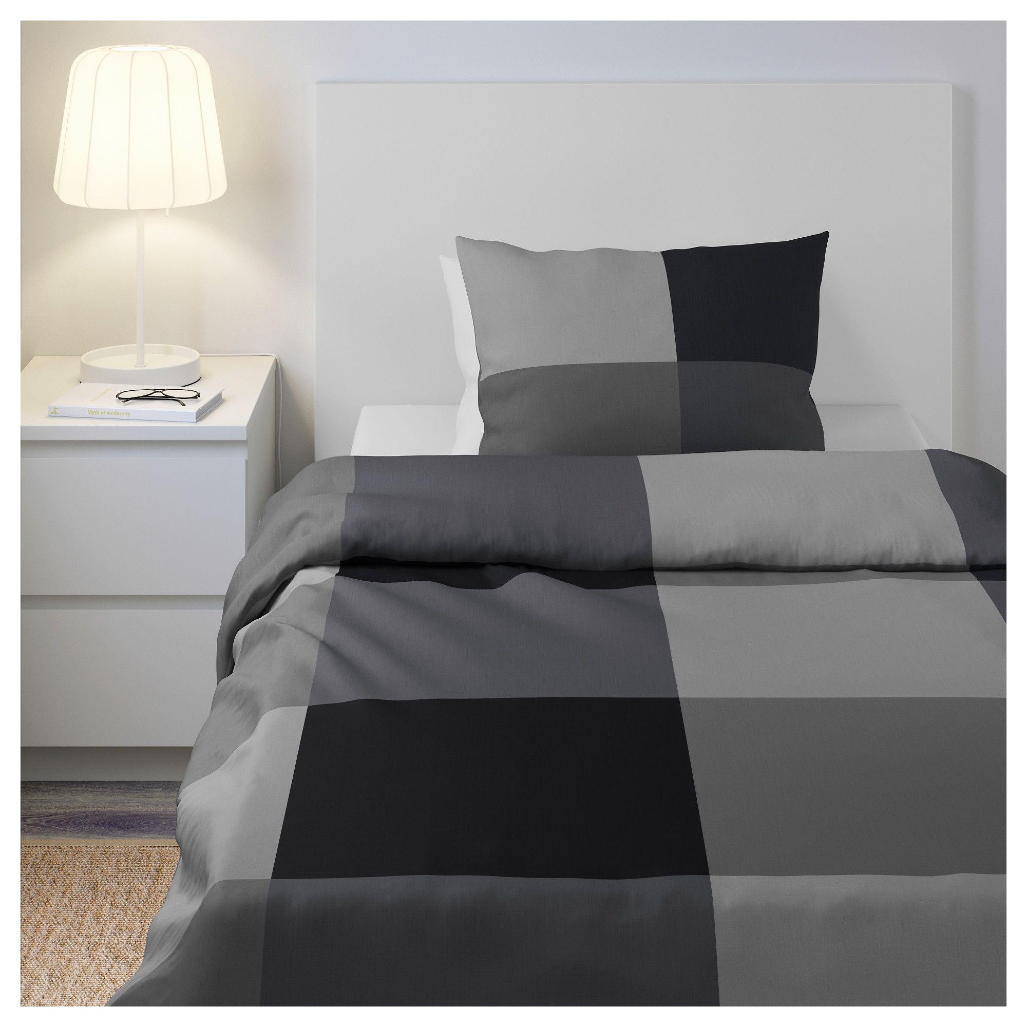 BRUNKRISSLA Bettwäscheset, 2teilig schwarz IKEA