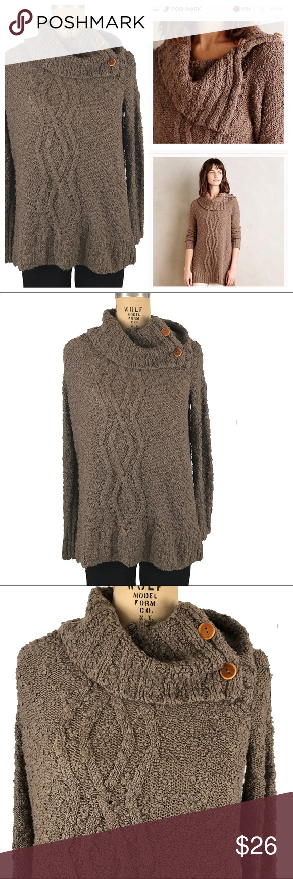 Moth oversized cowl neck sweater button neck brown | Cowl neck ...