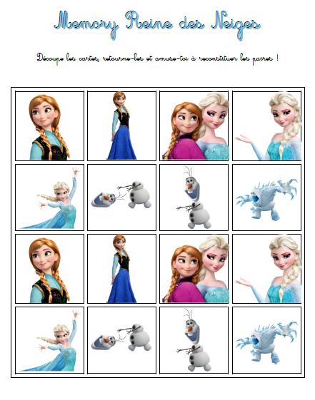 Memory la reine des neiges mon cahier reine des neiges reine des neiges neige et reine - Jeux princesse des neiges ...
