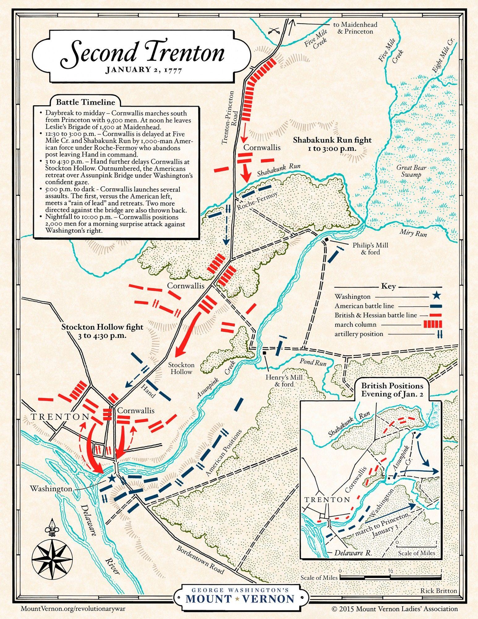 Mt Vernon Washington Map.Map Battle Of Second Trenton George Washington S Mount Vernon