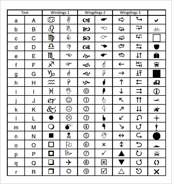 Wingdings Chart  Google Search  RuthS Stuffs D