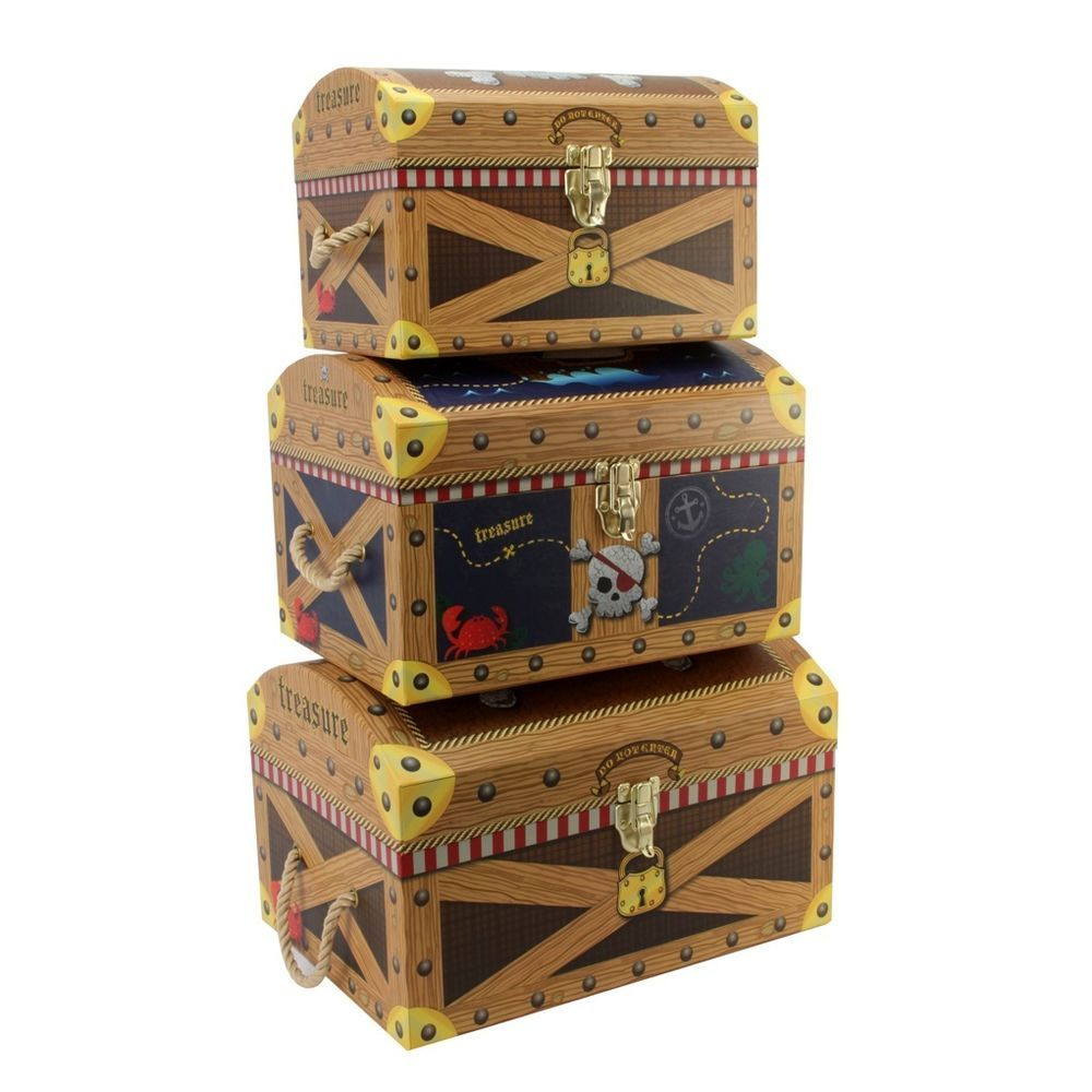 Ordinaire Tri Coastal Design Boys Pirate Treasure Chests Set Of Three Storage Trunks