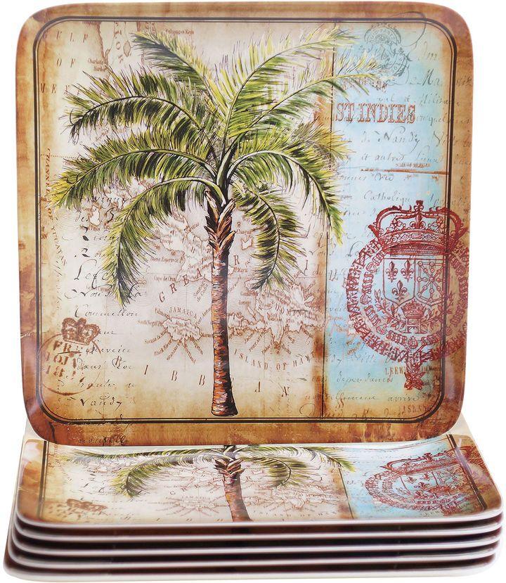 Certified International Antique Palms Set of 6 Melamine Dinner ...