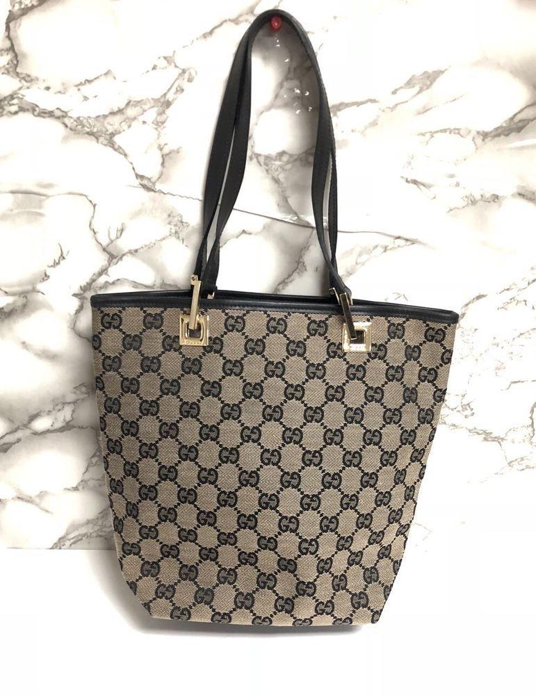 581e2117350638 Authentic Vintage Gucci Navy Canvas Shoulder Bag | Designer Women ...