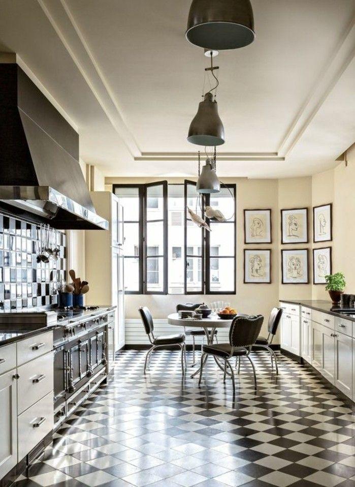 le carrelage damier noir et blanc en 78 photos - Carrelage Damier Noir Et Blanc Cuisine