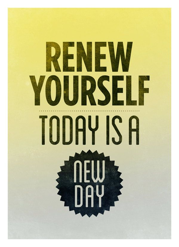 Renew yourself - Inspirational quote poster wall decor - Retro-style ...