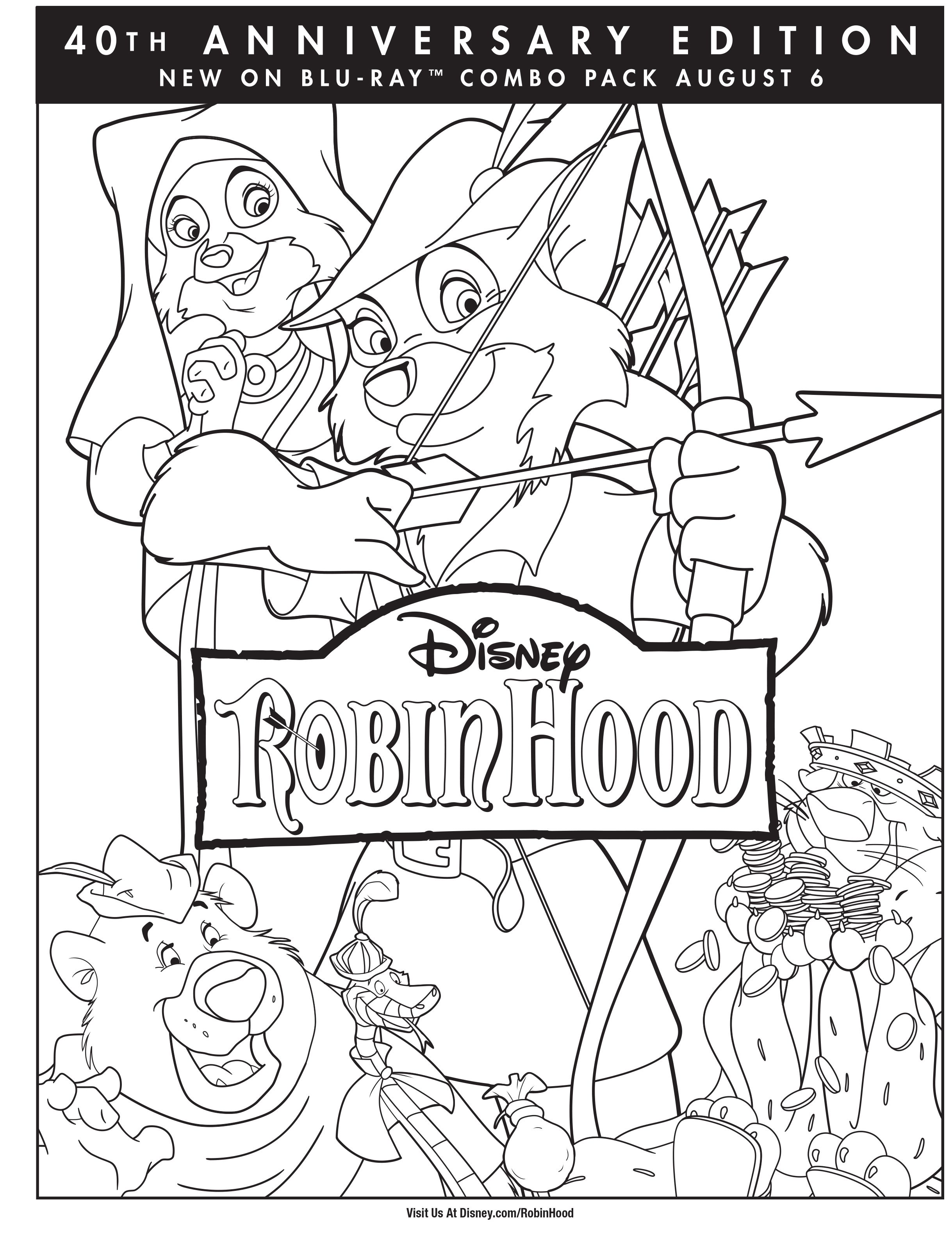 Colouring pages robin hood - Robin Hood Coloring Page Robin Hood Movie Night Disney Movie Night Family Movie Night