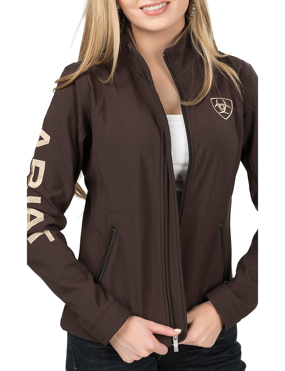 Ariat Women's Brown with Cream Logos Long Sleeve Soft Shell Jacket ...