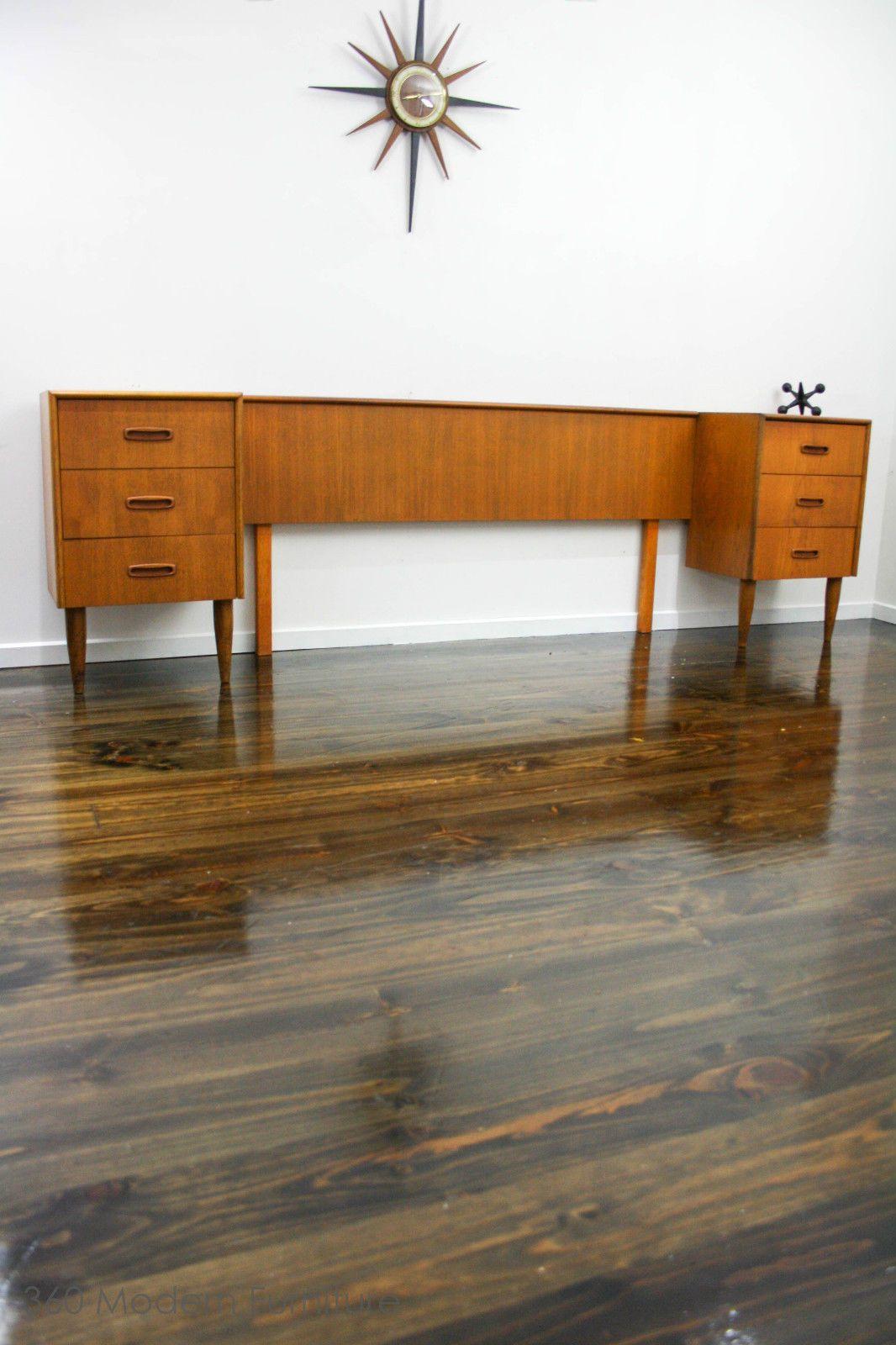 Mid century qs bedhead bedside tables drawers retro vintage danish parker eames in narre warren 360 modern furniture vic ebay