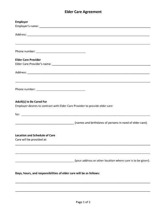 Free Printable Pdf Form Elder Care Agreement  Free Legal Forms