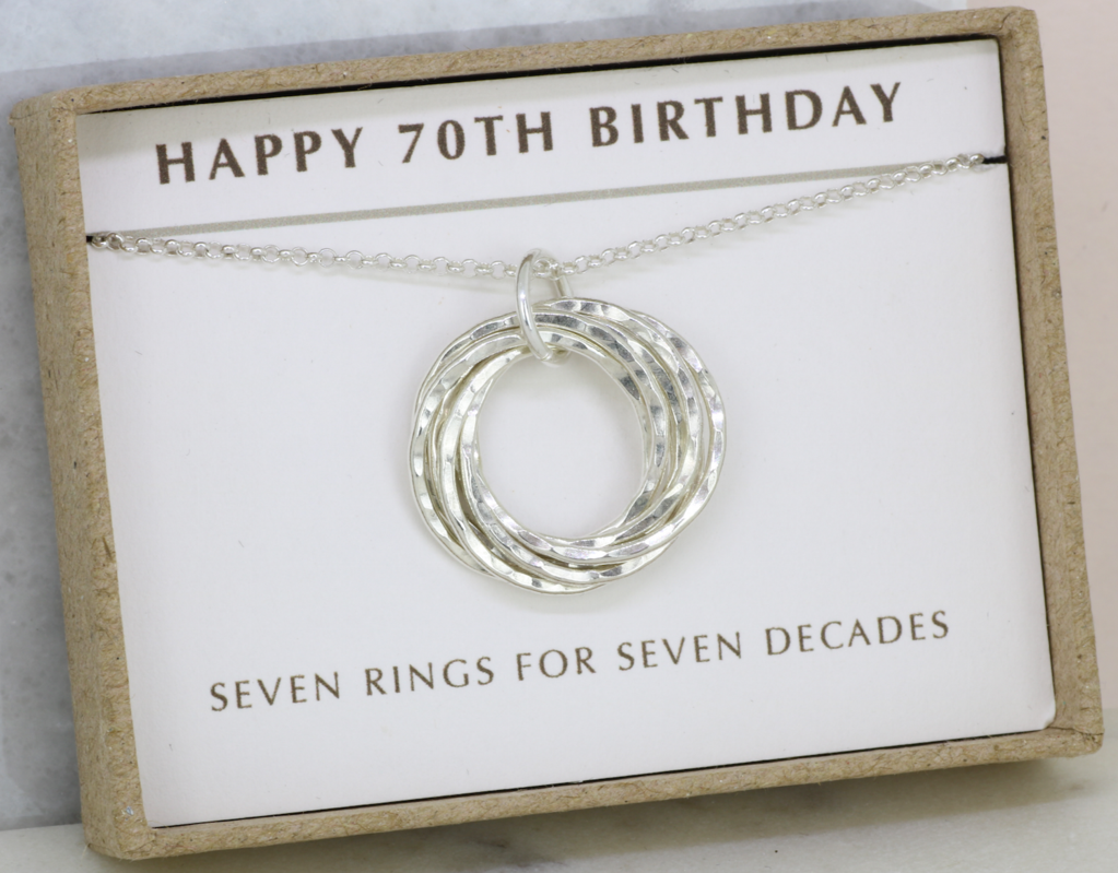 70th Birthday Gift Idea For Her Handmade 7 Ring Nested Russian Necklace Rings Decades Include A Custom Message 70thbirthdaygiftideaforher