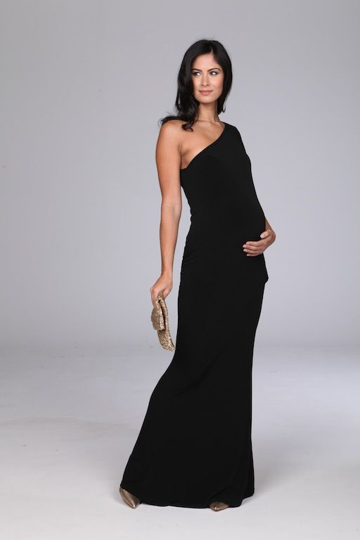 Stunning black one shoulder maternity evening gown | Fashion ...