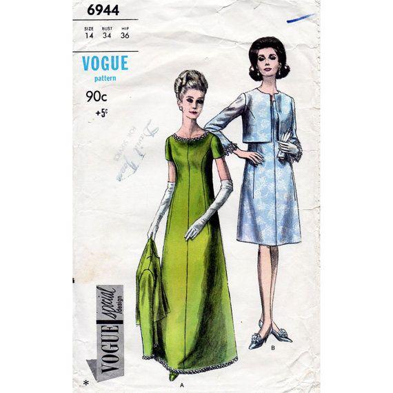 1960s Evening Dress Pattern Vogue Special Design 6944 Vintage Sewing ...