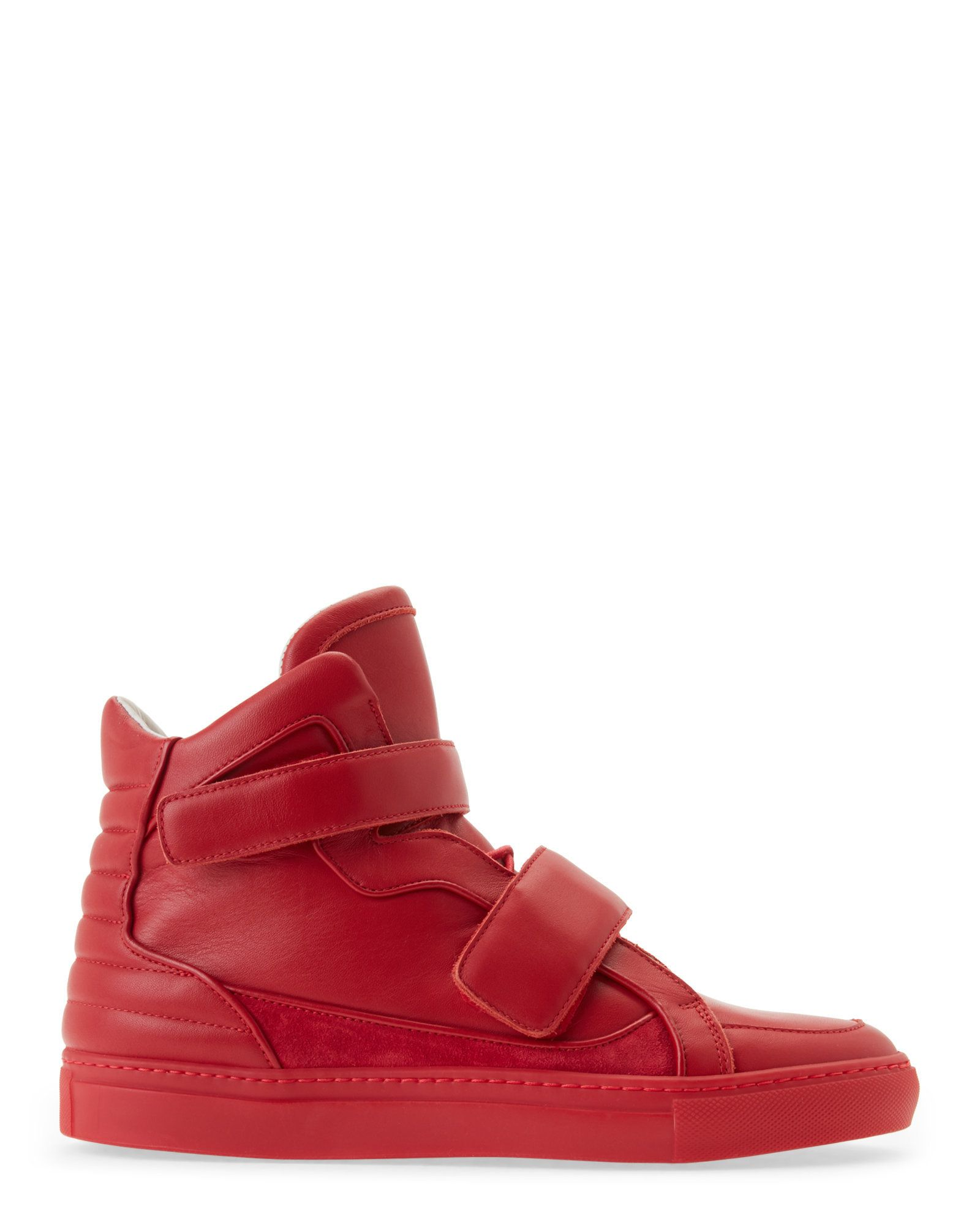 a19f2fab21 Red High Top Velcro Leather Sneakers | 厚底(滑板) | Sneakers ...