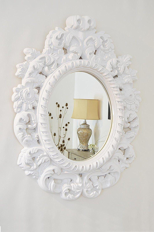 Large Decorative Gloss White Antique Style Portrait Mirror 3ft3 X