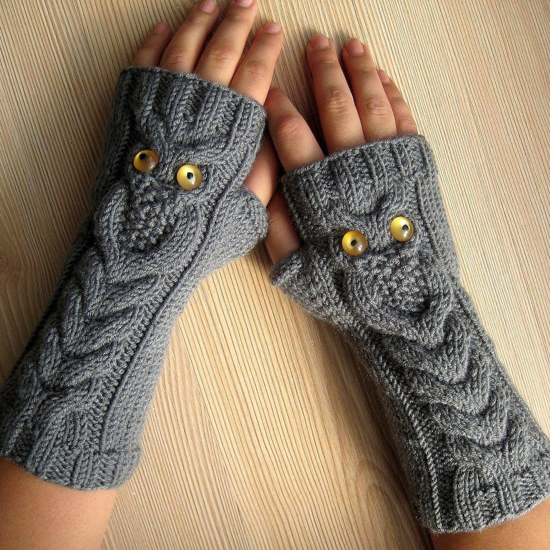 EXPRESS SHIPPING! owl gray fingerless gloves, winter gloves, gift ...