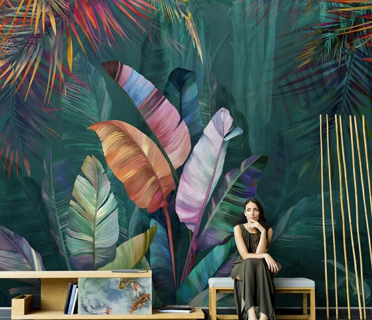 Hand Painted Tropical Plants Palm Wallpaper, Huge Leaf with a Bird Wall Mural, Rainforest Tropical Plants Leaf Wall Murals -   16 plants Painting wallpaper ideas