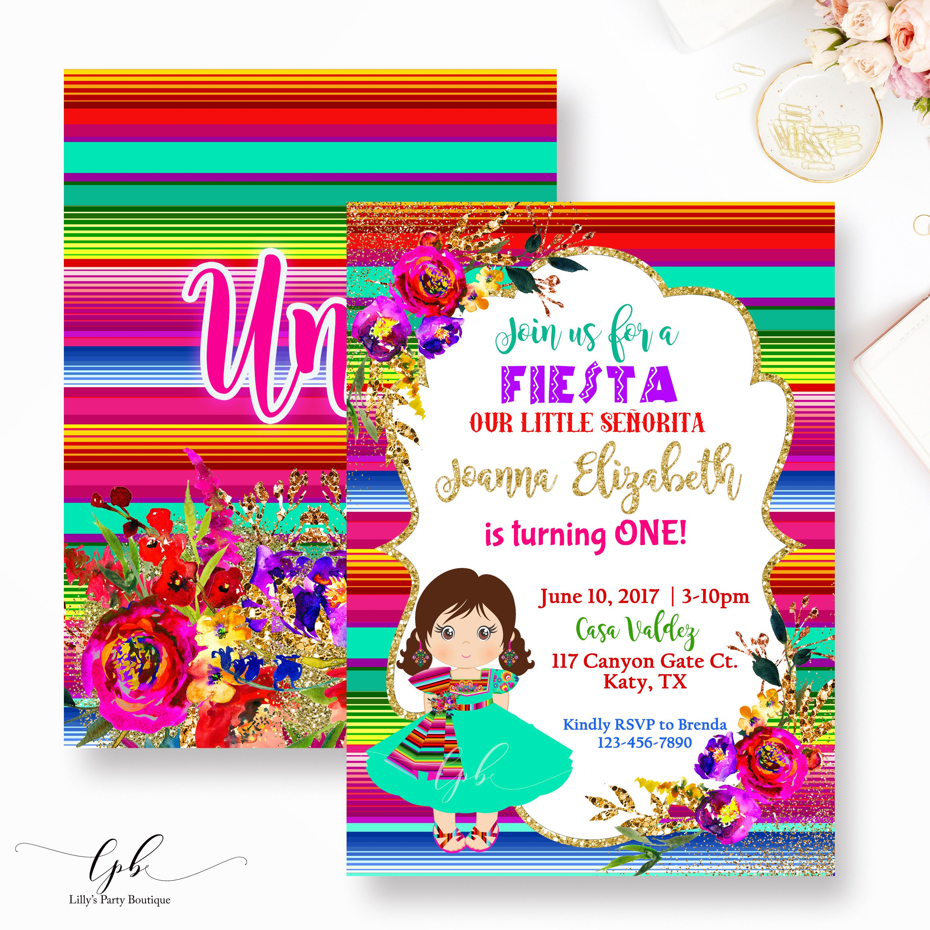 Fiesta Birthday Invitation Mexican Fiesta Birthday Invitation