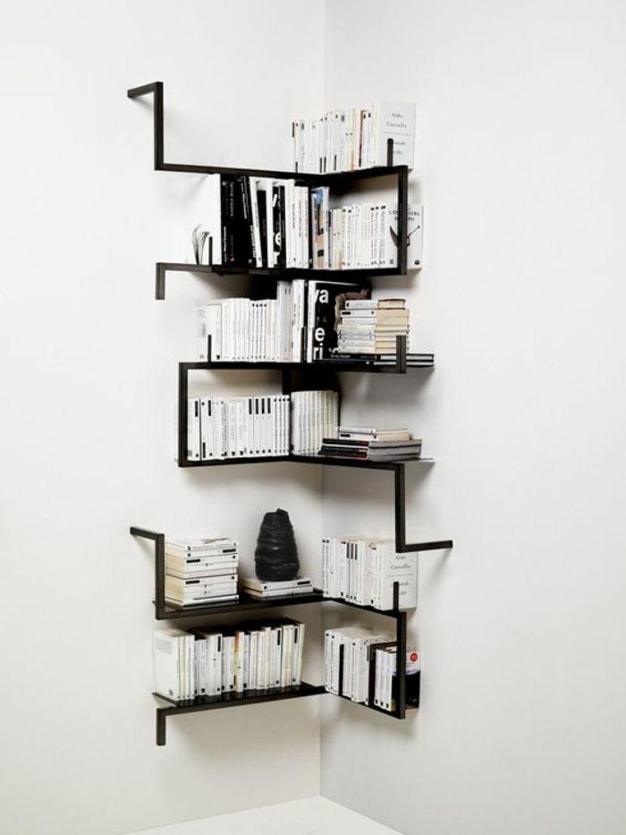 Bücherregal wand selber bauen  bücherregal selber bauen viele bücher ecke schwarze regale diy ...
