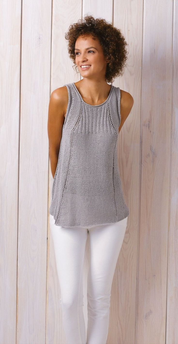 Photo of Top with lace pattern mix – free knitting instructions