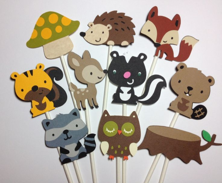Marvelous Set Of 24 Woodland Animal Cupcake Toppers,Birthday,Baby Shower,Forestu2026