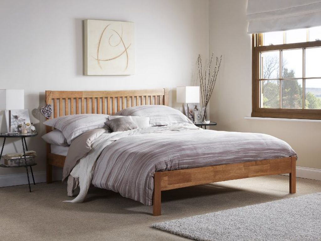 White Bedroom With Wooden Oak Bed Frame