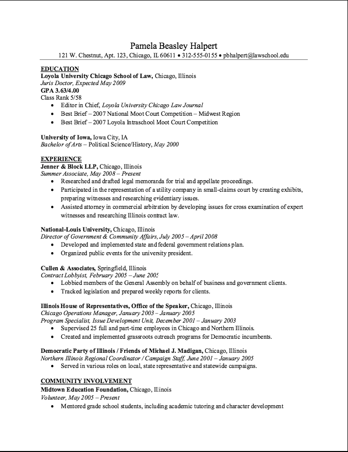 Lobbyist Resume Sample