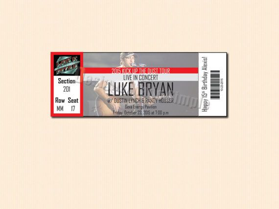 Custom Concert Ticket Gift Certificate Luke by DesignsMadeSimple - concert ticket templates