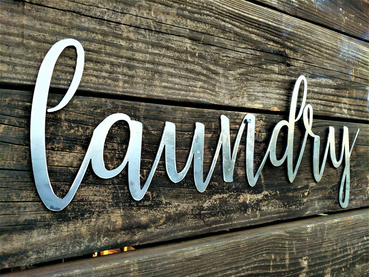 Save 10% Laundry Signs, Farmhouse Wall Decor, Metal Words, Kitchen ...