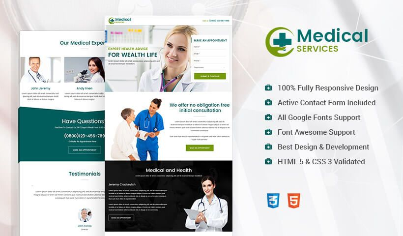 Searching For Effective Medical Responsive Landing Page Design To - Medical landing page template