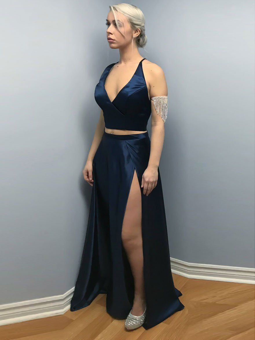 Beautiful satin vneck neckline pieces aline prom dresses with