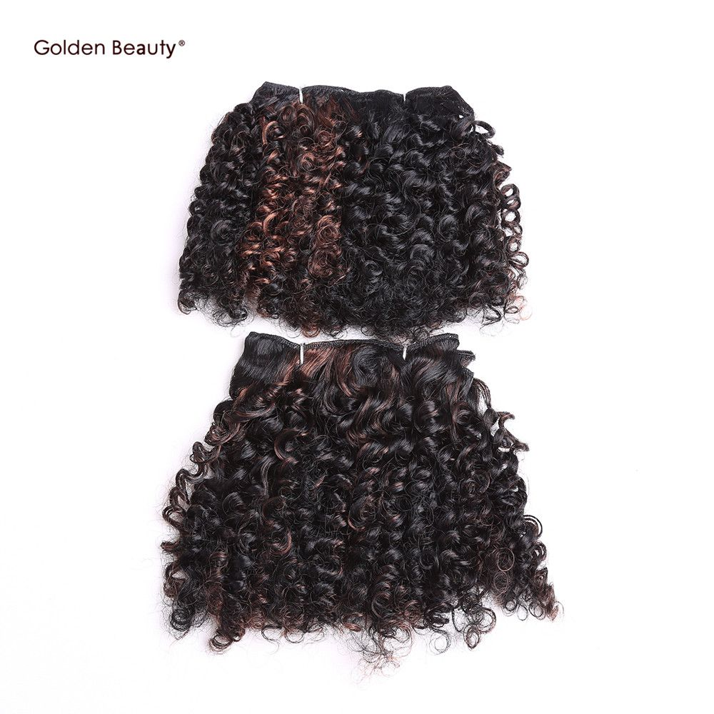 6inch 2pcspack Synthetic Noble Gold Hair Extensions Bohemian Curl