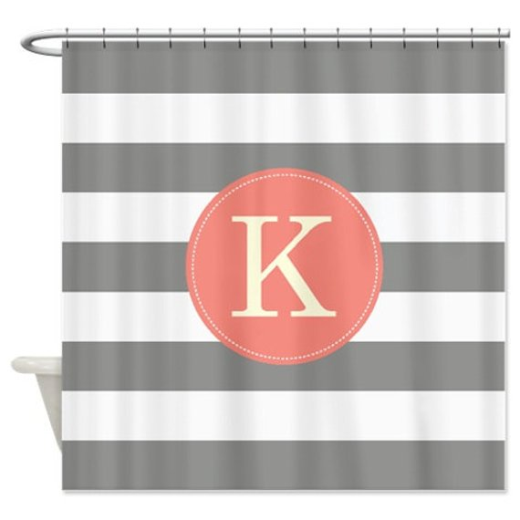 Preppy Personalized Striped Shower Curtain With Monogram Initial