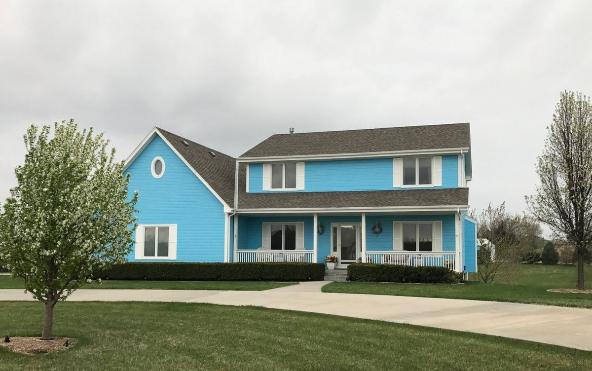 A couple painted their home blue and