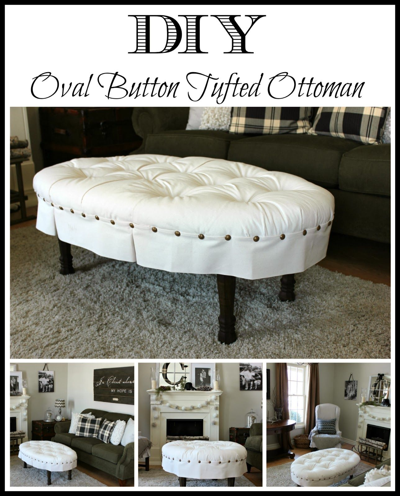 DIY Oval Button Tufted Ottoman | Tapicería y Decoración