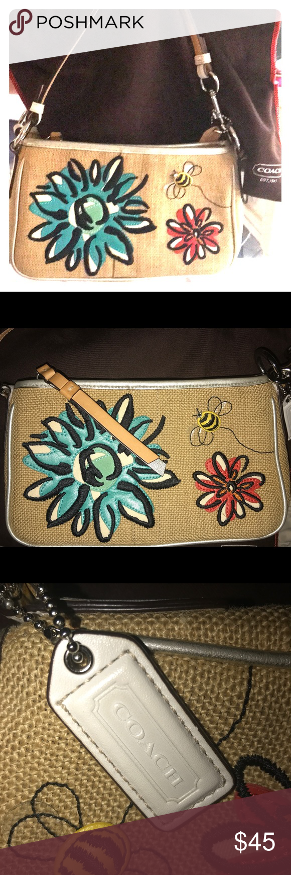 Coach Pouchette Embroidered Flower Bees Bag Purse Small Coach