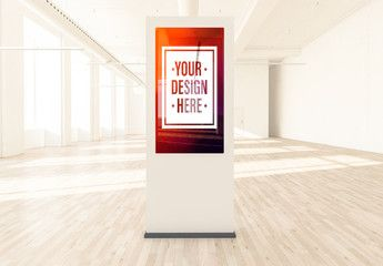 Column with Poster in a Light Interior Mockup
