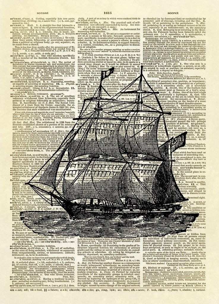 Dictionary Art Print Printed On Authentic Vintage Kraken Attacking a Ship