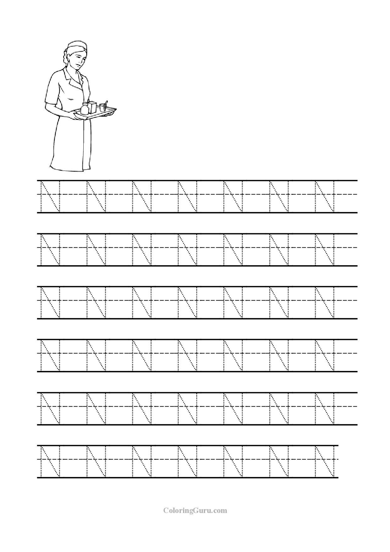 free printable tracing letter n worksheets for preschool - Printable Printing Worksheets