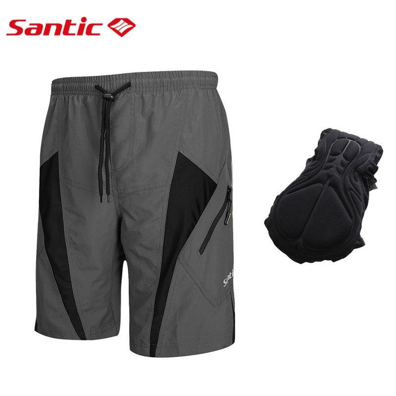 SANTIC Men Cycling Shorts with Padded Casual Short Pants Black Asian Size S-4XL